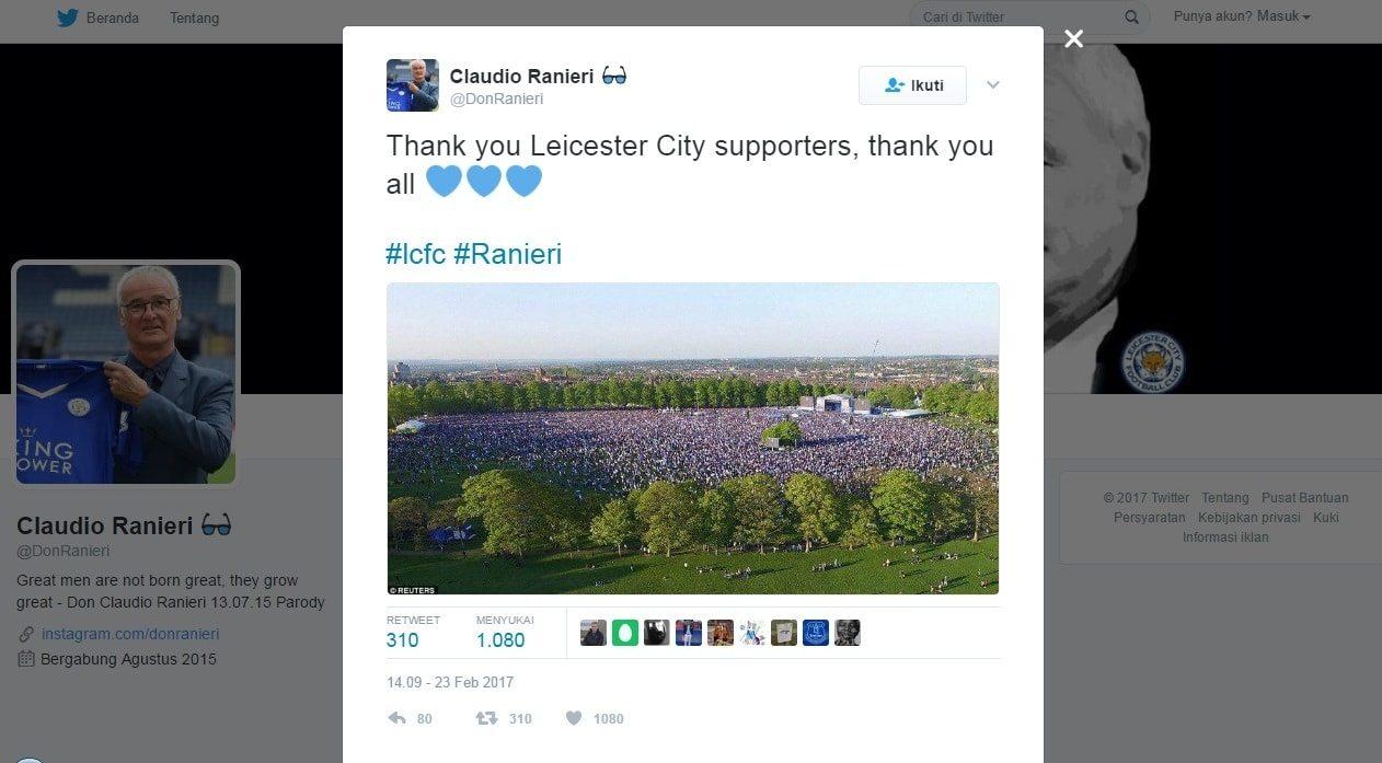 Tweet Perpisahan Ranieri
