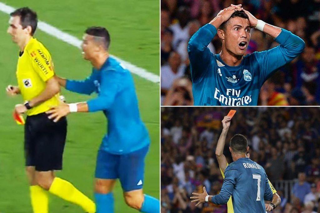 Ronaldo mendapat sanksi karena mendorong wasit